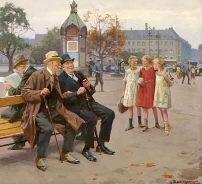 Gamle Skolekammerater Old Schoolmates Sitting On A Bench At Lille