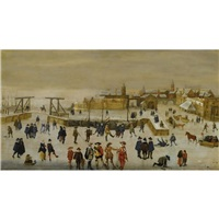 winter landscape with elegant figures skating and conversing on the ice outside the walls of a dutch town by adam van breen