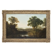 a classical river landscape with fishermen and nets by george smith of chichester
