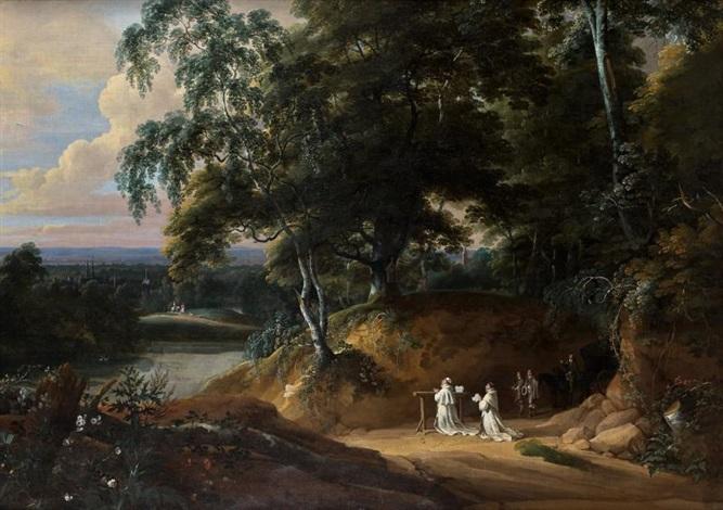 moines chârtreux en prière devant un reposoir dans un vaste paysage by jacques d arthois