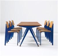 semi-metal chairs, model no. 305 (from the electricité de france, marcoule) (set of 6) by jean prouvé