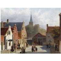 many figures on the sunlit square of a dutch town by john frederik hulk the younger