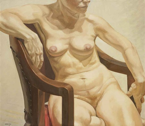 model seated on chair by philip pearlstein