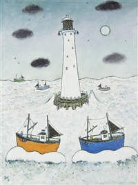 longship lighthouse by joan gillchrest