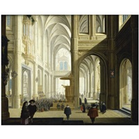 the interior of a gothic cathedral, with numerous elegant figures, and women listening to a bible reading by dirck van delen