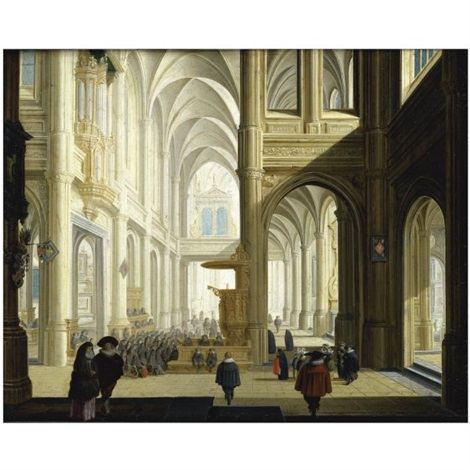 the interior of a gothic cathedral with numerous elegant figures and women listening to a bible reading by dirck van delen