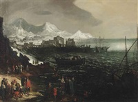 a mediteranean seascape with shipping and figures along the coast, a harbour and a mountainous village beyond by marten van valkenborch the elder