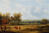 sheperd with his flock in a wide landscape by carl eduard ahrendts
