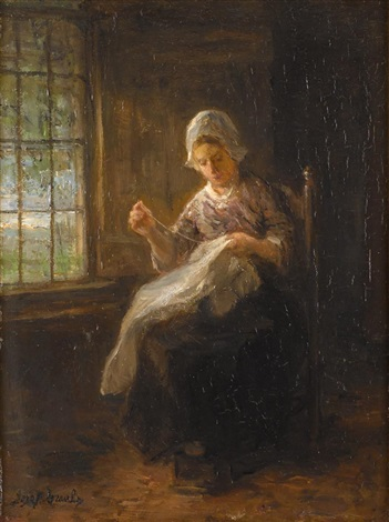 girl sewing by jozef israëls