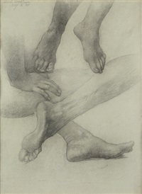 sheet of studies of hands and feet by elihu vedder