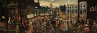 scène de bal masqué dans les jardins d'un palais by wolfgang heimbach