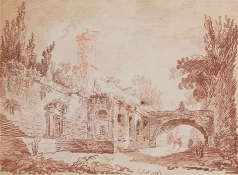 figures on a road beside a walled village a cart beyond the bridge 2 works by hubert robert