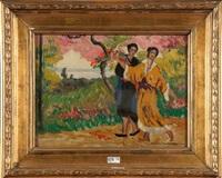 jeunes femmes cueillant des fleurs by louis gustave cambier