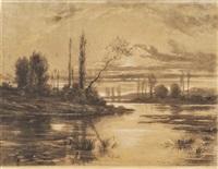 couché de soleil sur la rivière by auguste allongé