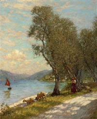veronese shepherdess, lake garda by henry herbert la thangue