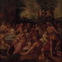 göttermahl: die hochzeit des peleus und der göttin thetis; eris, die göttin der zwietracht erscheint und wirft einen apfel zwischen die gäste; oben: das paris-urteil by paolo fiammingo dei franceschi