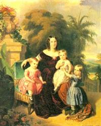 l'impératrice du brésil avec ses trois enfants dans le parc de san christo vao à rio de janeiro by ferdinand krumholz
