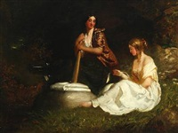 laundry scene with two young women by a stream by william crabb