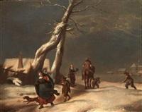 promeneurs sous la neige by adriaen van de velde