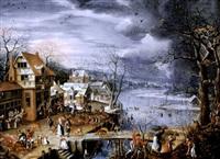 a village landscape in winter by marten van valkenborch the elder