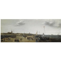 a view of the beach at scheveningen with fishermen unloading their catch, elegant figures strolling along the beach by hendrik cornelisz vroom