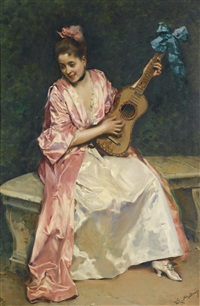 aline with guitar by raimundo de madrazo y garreta