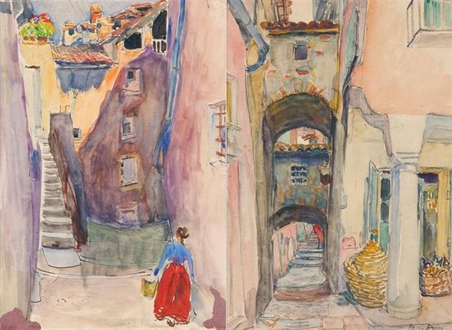 praca dwustronna uliczkakobieta przy schodach by maria mela muter