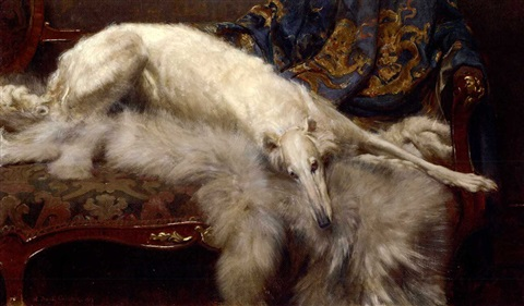 a lady of quality a borzoi on a chaise longue by william frank calderon