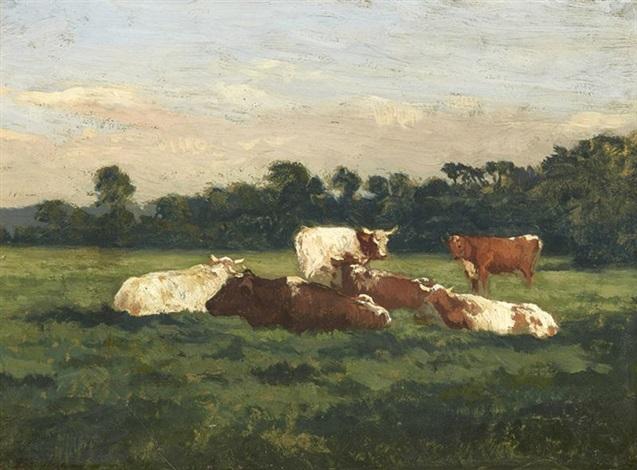 vaches au pré by eugène boudin