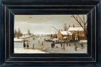 paysage d'hiver au lac gelé by adam van breen