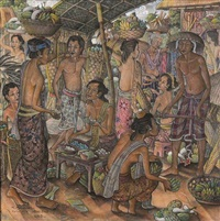traditional market scene by i nyoman lesug