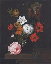 corn poppies, a peony, a chrysanthemum and other flowers, in a glass vase on a stone ledge by david cornelisz heem iii
