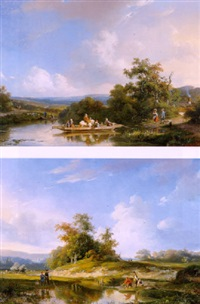 rivierlandschap met vissers langs de oever by frans arnold breuhaus de groot