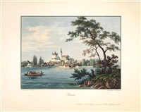 thoune (+ chateau de schadau, 1840; 2 works engraved by rudolf bodmer) by salomon corrodi