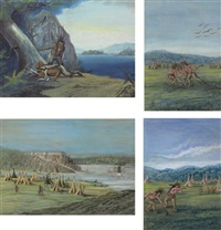 two indians at a listening post by a shore (+ 3 others; 4 works) by franz holzlhuber