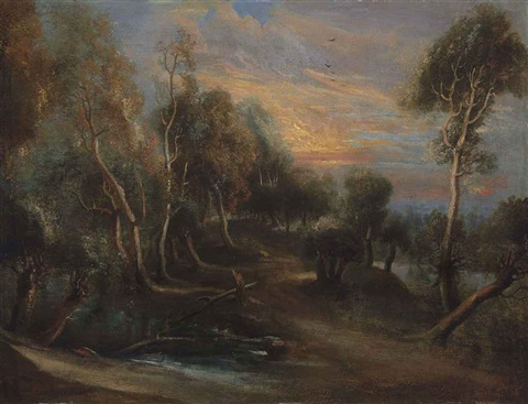 a wooded landscape at sunset by sir peter paul rubens