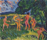 badende am waldteich by erich heckel