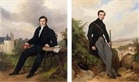 portrait du jeune dautricourt de lartigny et portrait d'antoine claude jean dautricourt de lartigny (pair) by robert léopold leprince