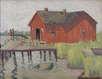 untitled (red barn, gloucester, ma) by allan randall freelon