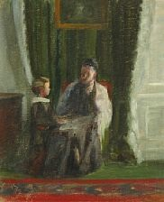 interior with an old woman and a child by frida bugge