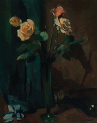still life with roses in a glass vase by otto b. de kat