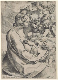 madonna and child with angels (+ holy family under an arch, engraving; 2 works) by lodovico carracci