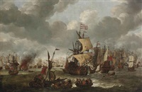 a naval engagement with dutch and british vessels by jan abrahamsz beerstraten