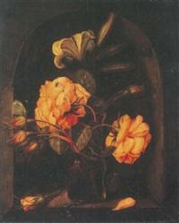 roses et lys dans un verre, un escargot, une araignée, un papillon dans une niche en pierre by jan baptist fornenburgh