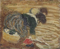 two women doing the laundry by otto van rees
