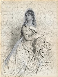 portrait of an elegant lady hold fan by gustave doré