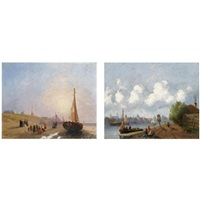 figures on the beach, scheveningen (+ figures near a river, a town in the distance; pair) by joseph bles