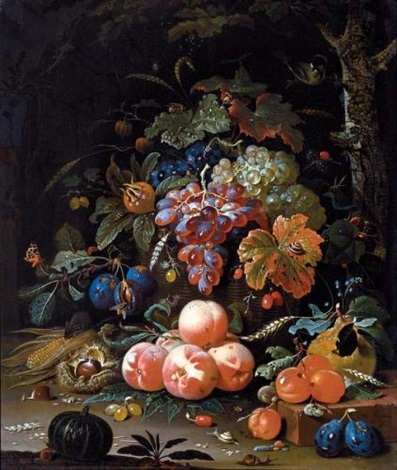 a still life of red and white grapes in a basket peaches plums chestnuts an ear of corn and gooseberries resting on a forest floor with snails butterflies a caterpillar wasp and other insects by abraham mignon