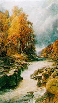 the river strid, running through an autumn landscape by frederick mercer