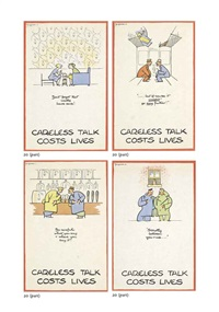careless talk costs lives (8 works) by fougasse (cyril kenneth bird)